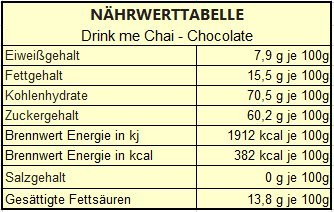 Nährwerttabelle Drink me Chai Chocolate