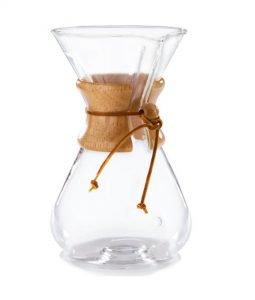 Abbildung einer 8 Tassen Chemex Kaffee-Karaffe mit Holz Manschette .