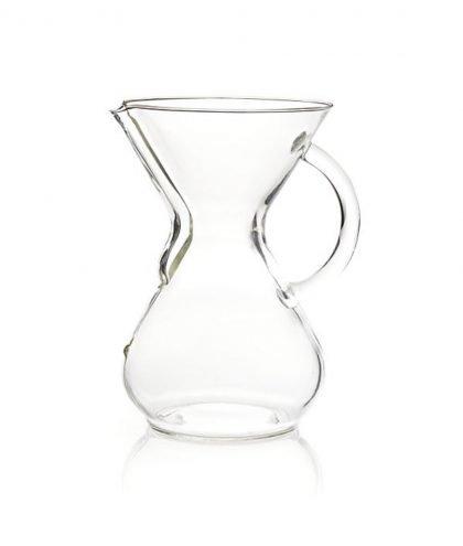 Abbildung einer 6 Tassen Chemex-Glass-Kaffee-Karaffe mit Henkel.