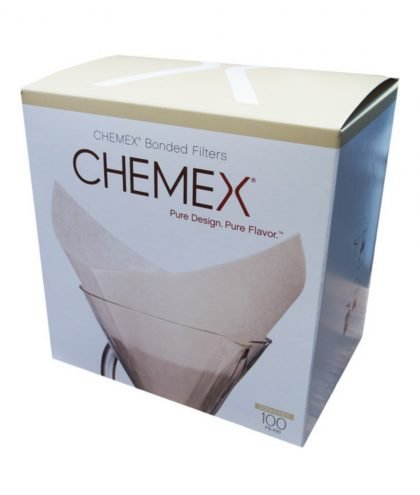 Abbildung einer 100ter Box, rechteckiger Paperfilter für die Chemex Karaffe.