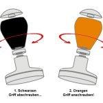 """Montage Skizze für einen Grifftausch von schwarz auf orange beim Espresso Gear Tamper der Baureihe """"Barista"""""""