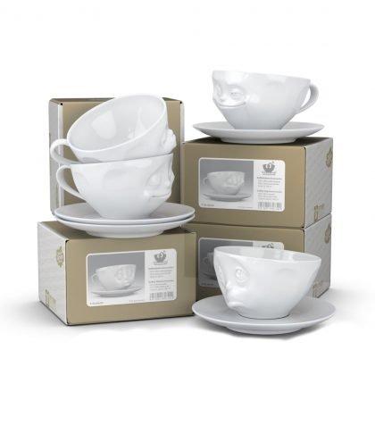 Abbildung aller Kaffeetassen der Fiftyeight Reihe, die im 4er Set enthalten sind.