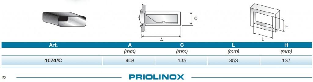 Abmessung zur Priolinox Dampfschutzhabe 1074/C