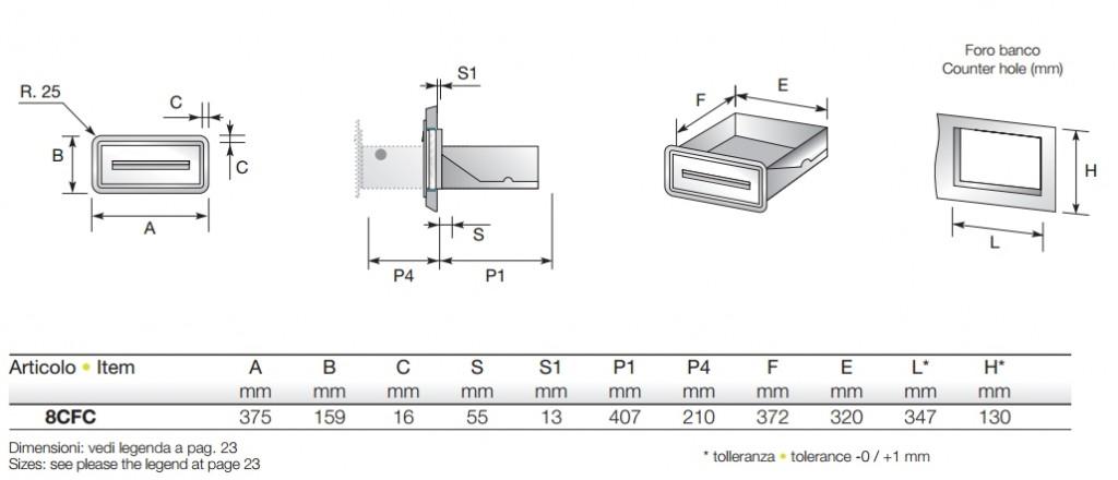 Maßtabelle zu Priolinox EK8CFC Sudschublade