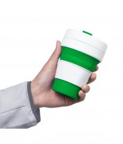 Stojo - faltbarer Becher mit Deckel und Banderole in grün