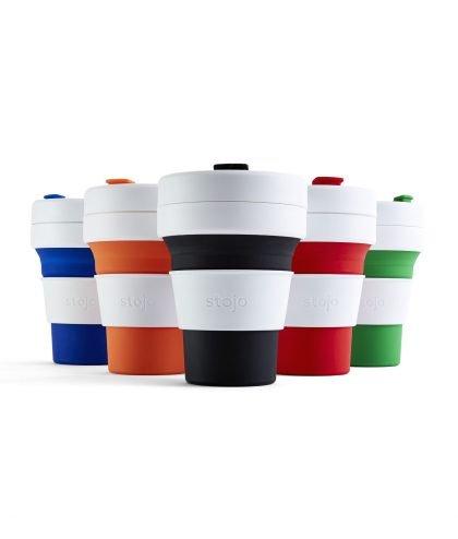 Stojo - faltbarer Becher mit Deckel und Banderole in fünf farben