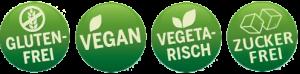 Glutenfrei, Vegan, Vegetarisch, Zuckerfrei