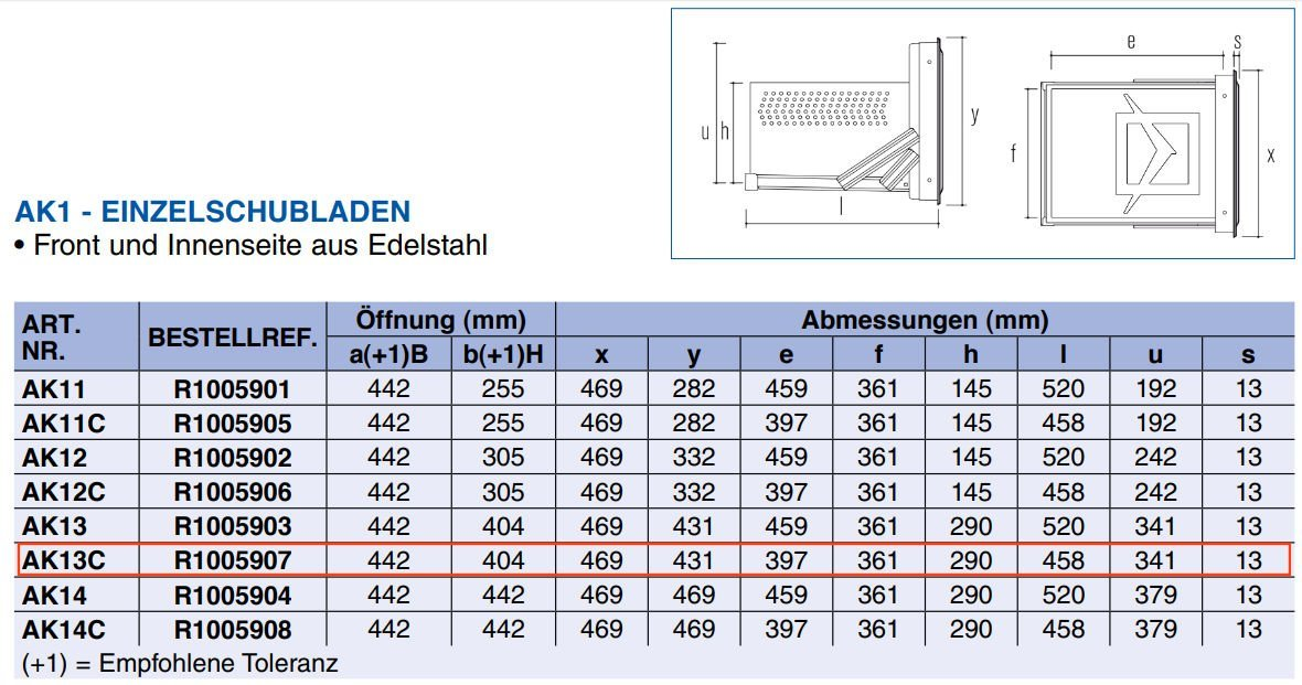 Tabelle Abmessung zu Ronda CNS Schublade AK13C