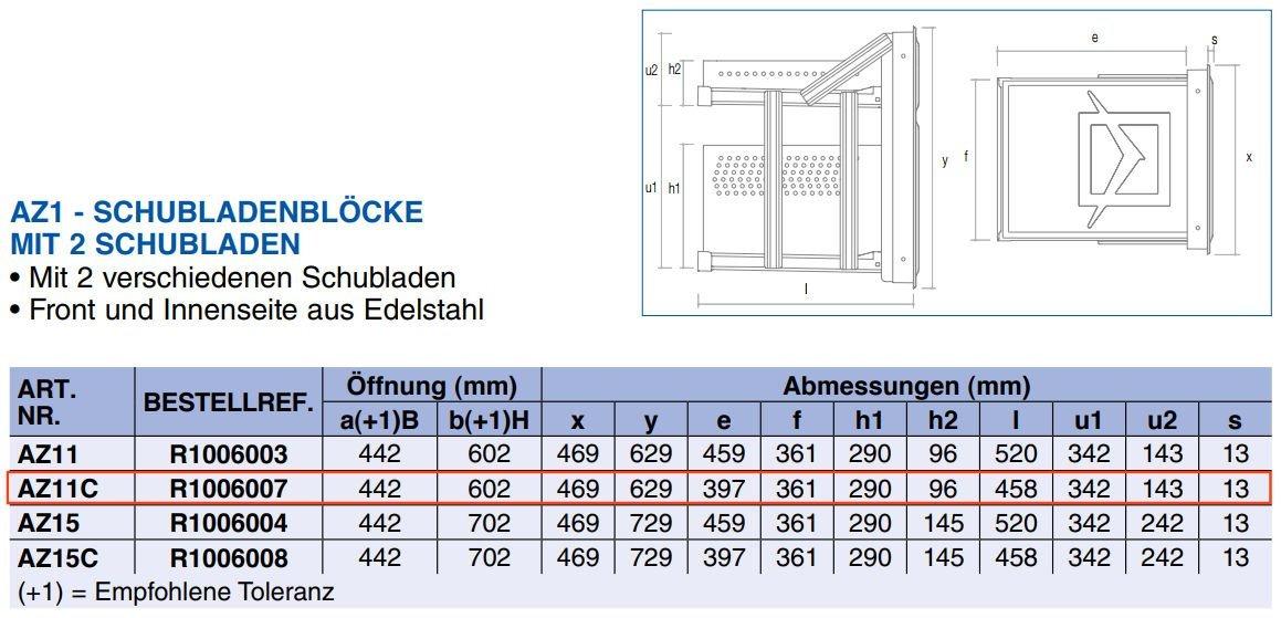 Tabelle Abmessung - Ronda CNS Schubladenblock AZ11C